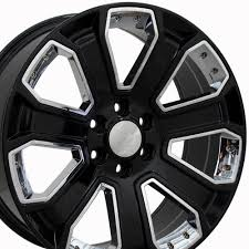 22-inch Chrome Insert Black Rims Fit Chevy Silverado - CV93 Replica ...