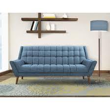 Danish Modern Sofa Legs by Cobra Mid Century Modern Sofa In Blue Linen And Walnut
