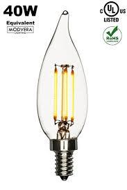 modvera 4 watt 40w equivalent led candelabra bulb bent tip warm