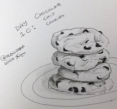 Chocolate chip cookie drawing