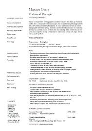 Core Qualifications Resume Technical Manager Example Sample Project Skills Section