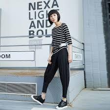 Korean Style Casual Elastic Pencil Black Pants 2017 Spring Summer Street Chiffon Bloomers Personality Loose Trousers New In Capris From