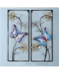 Set Of 2 Spring Crystal Flowers Butterfly Metal Wall Art Plaques Hangings Decor