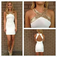 gold sequin cross over open back dress from dainty hooligan