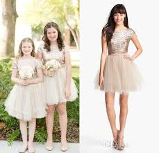 Rose Gold Sequins 2016 Junior Bridesmaid Dresses Jewel Short Sleeves