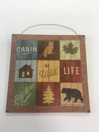 Lodge Cabin Camper Lake Decor Wooden Wood Wall Art Sign Be Wild Bear Fishing