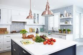 copper pendant light kitchen contemporary with bin pulls blue tile