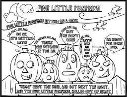 5 Little Pumpkins Halloween Music Coloring Pages Games Glyphs Worksheet Printables