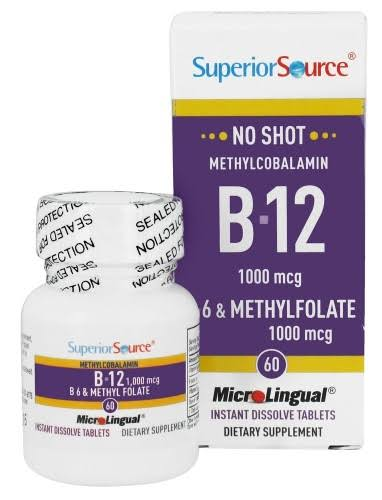 Superior Source B12 B6 & Methylfolate - 60 Instant Dissolve Tablets