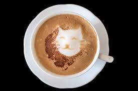 A Cappuccino With Cat In Latte Art Stock Photo