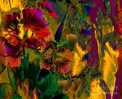 Abstract Flowers Digital Art By Doris Wood