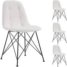 idimex esszimmerstuhl imran retrodesign stühle esszimmer küchenstuhl essstuhl polsterstuhl im 4er set kunstlederbezug in weiß