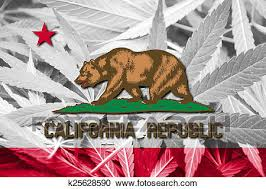 California State Flag On Cannabis Background Drug Policy Legalization Of Marijuana