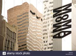 moma museum of modern gallery sign in midtown manhattan new