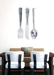 Extraordinary Fork And Spoon Wall Decor Aluminum R X 8 Inch Large Knife Silver