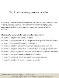 Top 8 Unit Secretary Resume Samples In This File You Can Ref Materials For