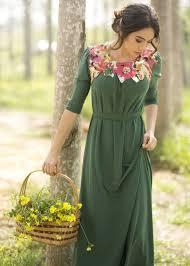 romantic green pastel floral dress modli