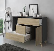 esszimmer sideboard zusatzmöbel buffet wind 1 tür 3 schubladen strukturfarbe anthrazitgrau und türfarbe und puccini schubladen maße 120x40x86cm