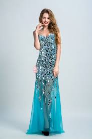 crystals embellished sophisticated blue see through a line long