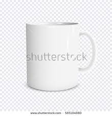 Realistic White Cup Isolated On Transparent Background Vector Template For Mock Up Illustration