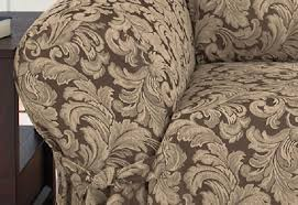Sure Fit Dual Reclining Sofa Slipcover by Dual Reclining Sofa Slipcover Damask Chocolate Brown Sure Fit Couch