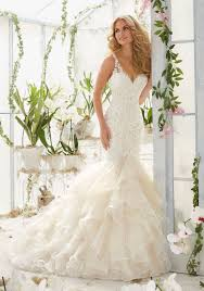 pearls and crystals on lace mermaid wedding dress style 2819