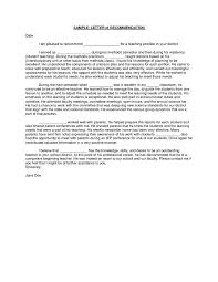 Letter Re mendation For Teacher letter of re mendation