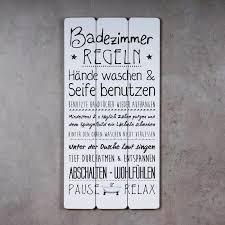 holzschild 30x60cm badezimmer regeln weiß spruch deko