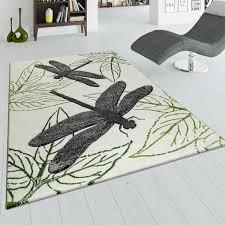 wohnzimmer teppich grün beige kurzflor 3 d effekt libellen design blätter muster