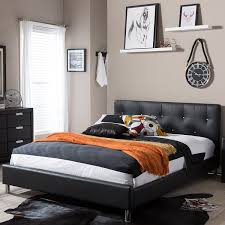 Black Leather Headboard With Crystals by Amazon Com Baxton Studio Barbara Black Modern Bed With Crystal