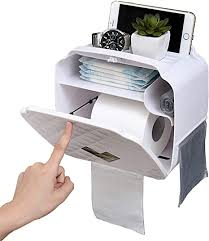 toilettenpapierhalter ohne bohren mit schublade und multifunktionaler aufbewahrungsbox für badezimmer geeignet für jedes papier weiß