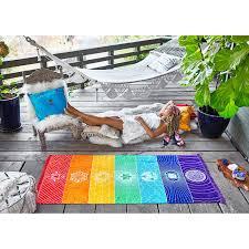 rainbow towel boho 7 chakras carpet tapestry