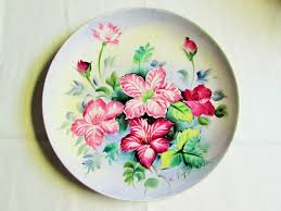 Daher Decorated Ware Tray 1971 by Vintage Hand Painted Burgundy Flower Plate Etagere Antiques