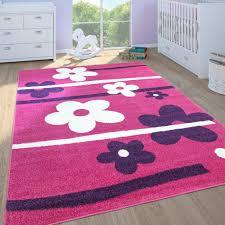 teppich kinderzimmer blumen pink lila