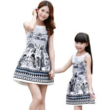 Mother And Daughter Dresses Summer 2016 Kids Baby Girls Family Look Clothing Teenage Vintage Chinese