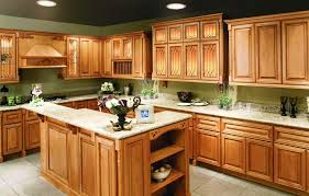 kitchen walls with oak cabinets