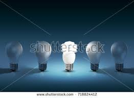 glowing bright light bulb among others stock illustration