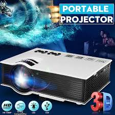 100 Bright Home Theater 1080P HD Portable 8000Lumens 3D Projector HiFi Stereo 2W Portable Beamer LED Multimedia Player Video Game Multiple Interfaces Remote