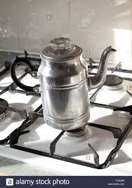 An Old Aluminium Coffee Percolator As Used In The 1940s 1950s On A Gas Stove