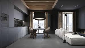 cuisine gris et noir meuble de cuisine gris 13 peinture noir mat et parement en bois
