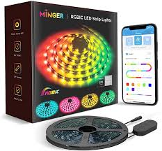 minger rgbic led lights sync bluetooth lights with phone app and 5050 leds water resistant for room bedroom tv gaming