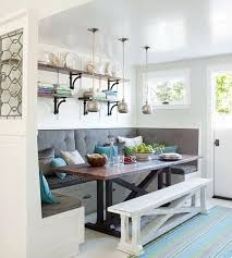 Breakfast Nook Design With Built In Furniture And Open Wall Shelves