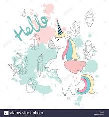 Card Cute Unicorn Rainbow Stock Photos