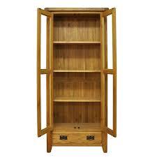 Rustic Oak Display Cabinet Unit With Glass Doors