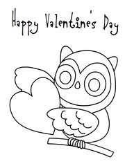 Happy Valentines Day Coloring Card 1