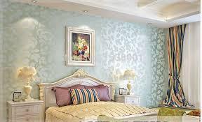 non woven light blue leaf embossed wallpaper warm bedroom
