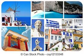 Collage Of Famous Places In Greece Stock Photo