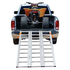 100 Truck Bed Motorcycle Lift 1500 Lb Capacity TriFold Aluminum Loading Ramp Loading