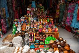Balinese Market Souvenirs Of Wood And Crafts Local Residents Colorful Figurines