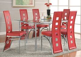 Irving Blvd Furniture Table w 6 Red & Silver Dining Chairs